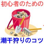 潮干狩りのコツを初心者用で紹介するイラスト