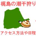梶島の潮干狩りを紹介するイメージイラスト